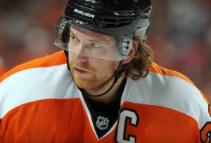 Flyers' captain Claude Giroux is expected to miss at least two games with an injury that's not being fully disclosed by the organization. Photo credit - bleacherreport.com