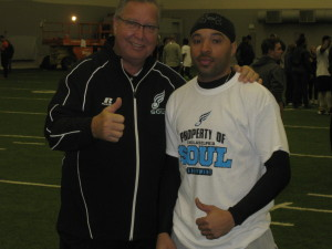 Soul co-majority owner Ron Jaworski with tryout participant Curtis Byrd. Photo credit - Joe Darrah