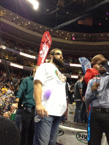 "Eagles center Jason Kelce takes a moment to take in the scene at Wing Bowl 22. - photo by James ""Jimmers"" Margerum"