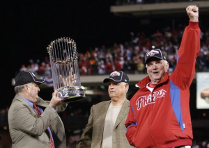 Pat Gillick (center) was instrumental in helping Montgomery (left) and former Phillies skipper Charlie Manuel bring a World Series to town in 2008. Photo credit -
