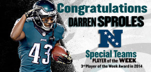 Sproles Named NFC Special Teams POW